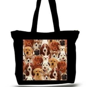 puppy Dog Photo Collage Grocery Tote Bag XXXL
